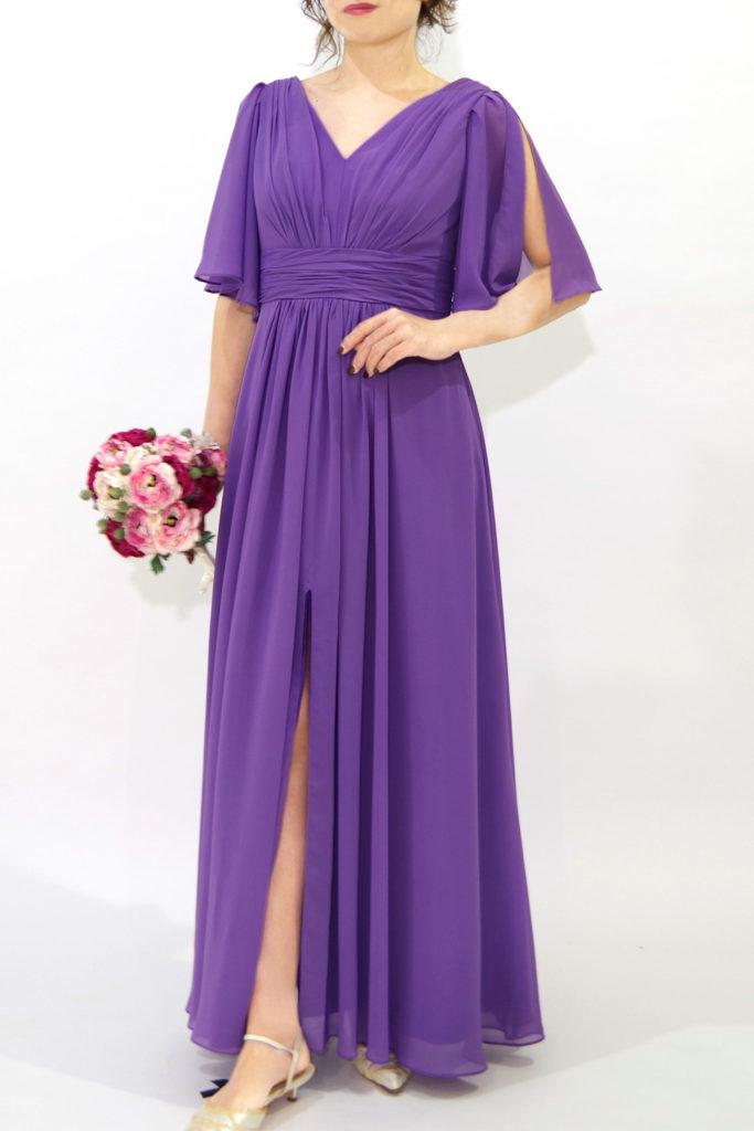ブライズメイドドレス L707 ロングドレス 紫 パープル