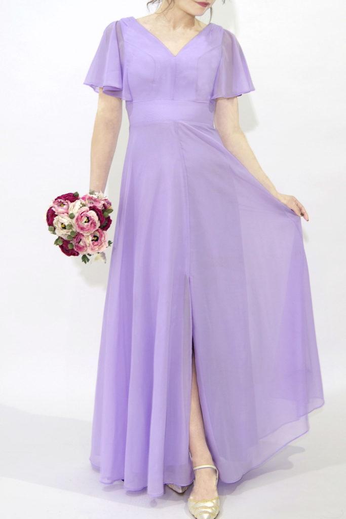 ブライズメイドドレス L708 ロングドレス 紫 パープル ラベンダー