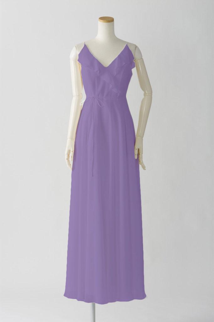 ブライズメイドドレス L617 ロングドレス 紫 パープル ラベンダー