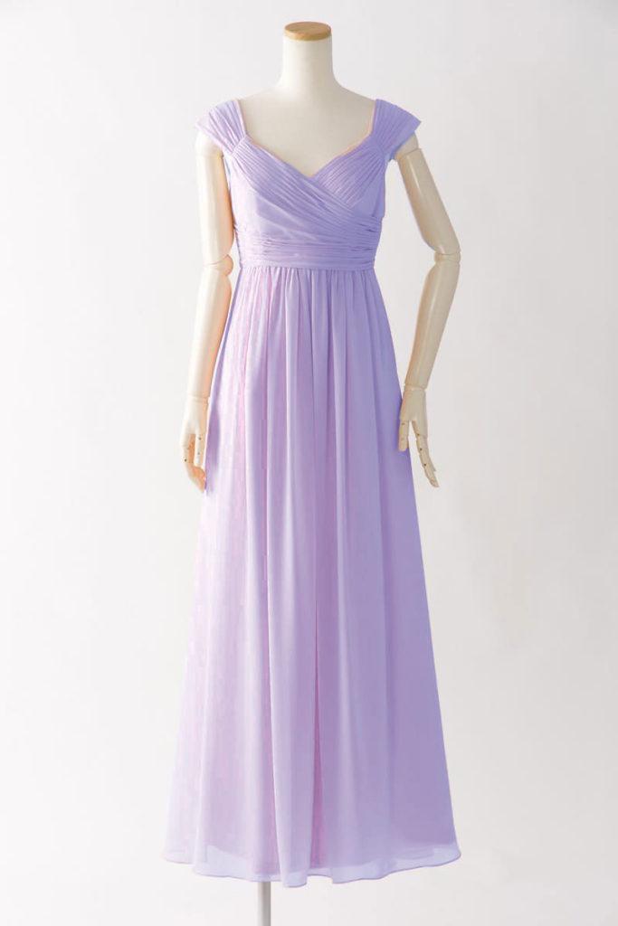 ブライズメイドドレス L606 ロングドレス 紫 パープル ラベンダー