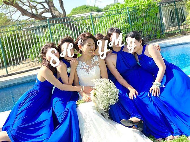 ロイヤルブルー ブライズメイド ドレス 結婚式 ハワイ