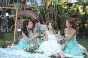 シーグラス ブライズメイド ドレス 結婚式 ハワイ