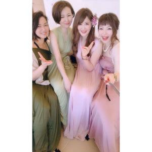 ミックスカラー ブライズメイド ドレス 結婚式 ハワイ